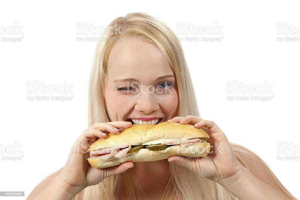 Eating and flirting royalty-free stock photo