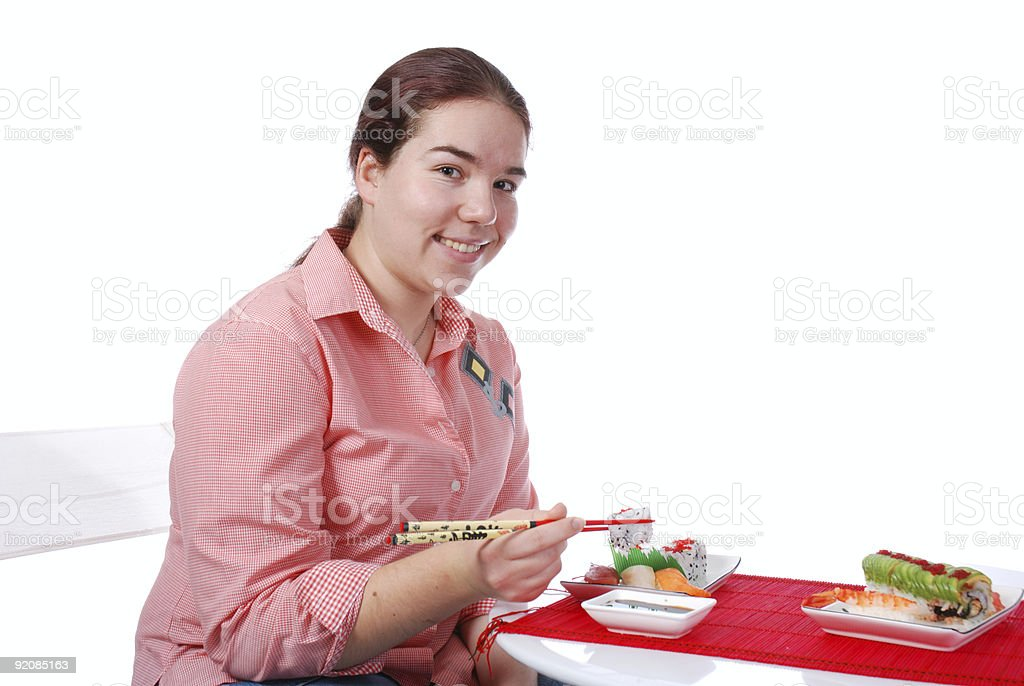 Eating and smiling royalty-free stock photo
