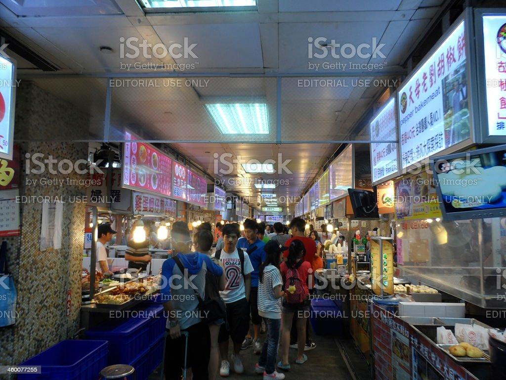 Eating at night market in Taiwan royalty-free stock photo