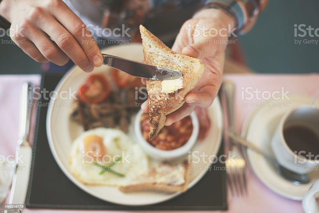 Eating breakfast stock photo