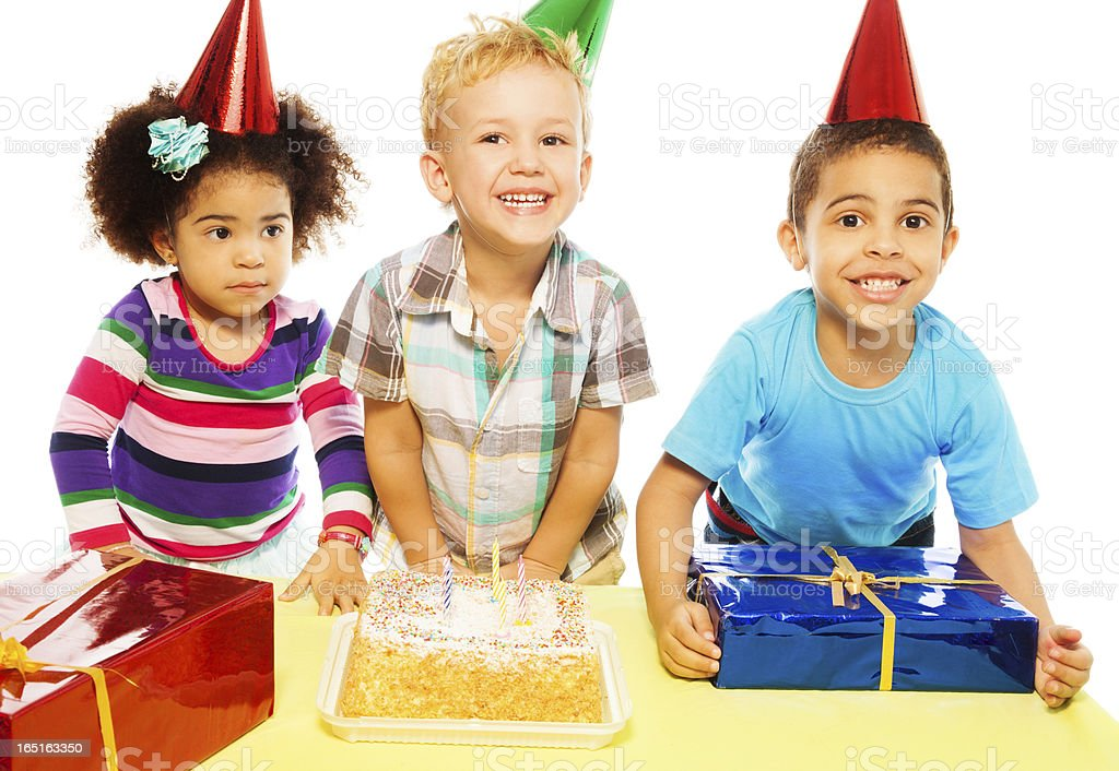 Eating cake and receiving presents royalty-free stock photo