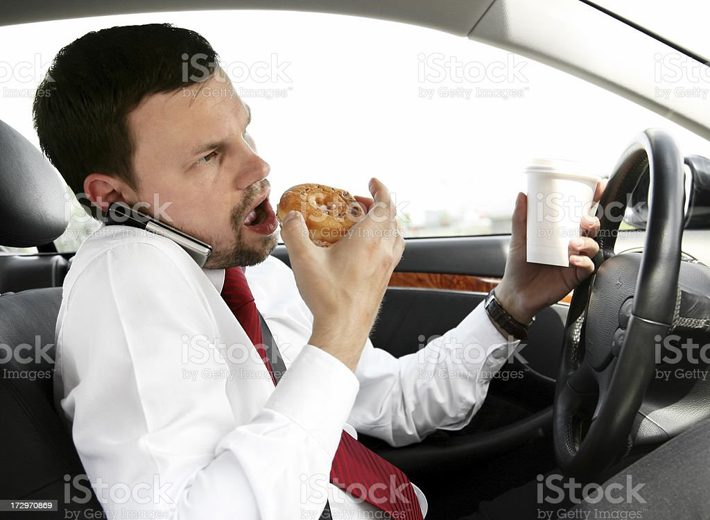 eating, calling, drinking, driving stock photo