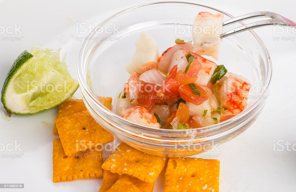 Eating Crab Ceviche stock photo