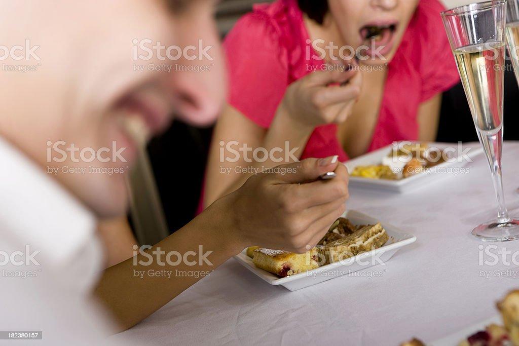 Eating dessert royalty-free stock photo