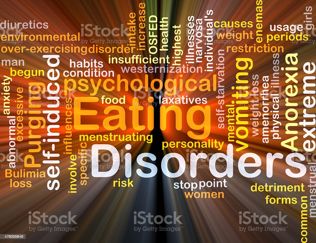 Eating disorders background concept glowing stock photo