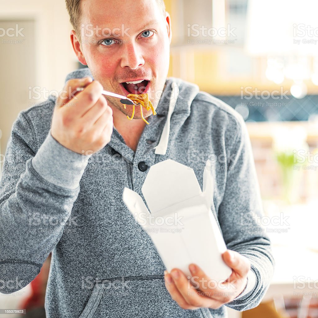 Eating fast food - noodles royalty-free stock photo