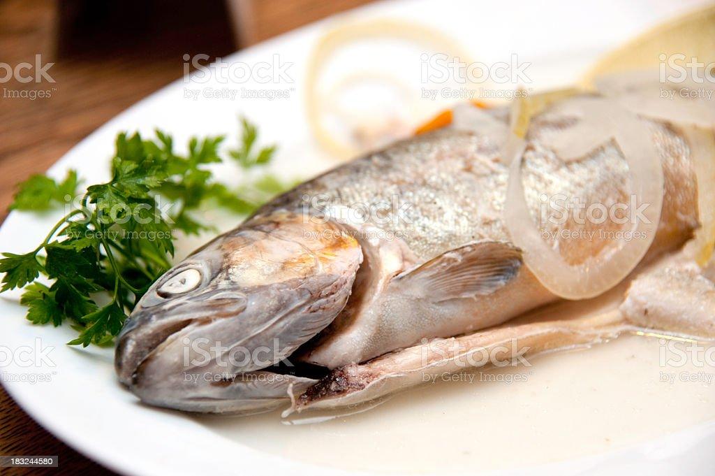 eating fish Forelle pear blau M?llerinnen Art royalty-free stock photo