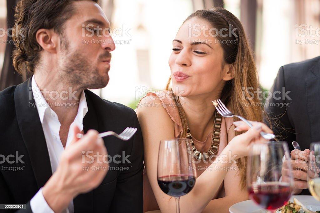 Eating flirt stock photo