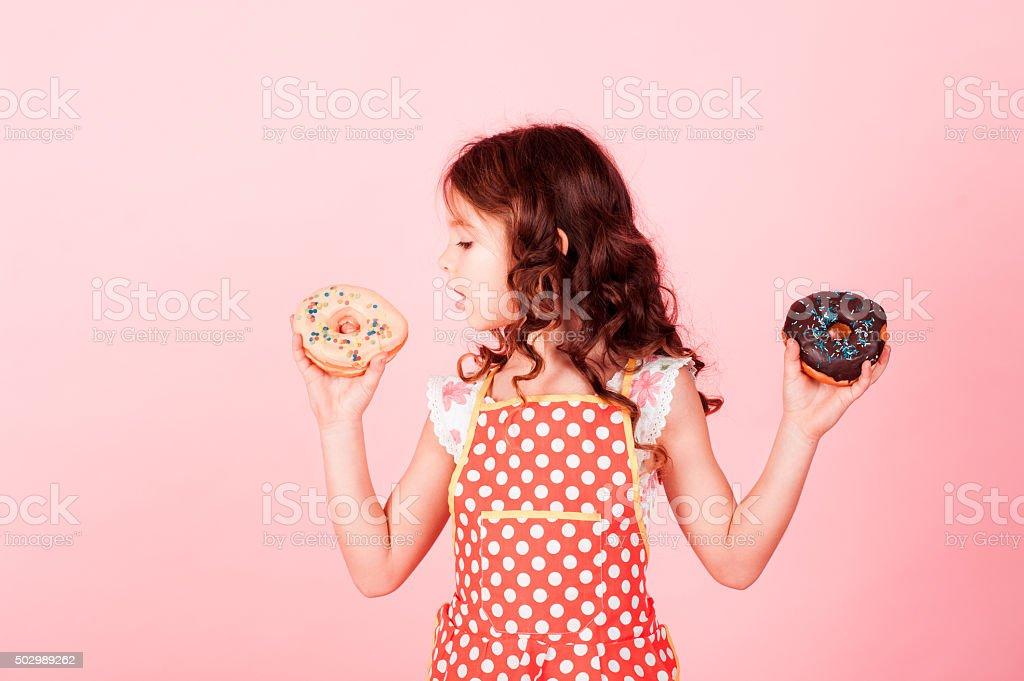 Eating glazed donuts stock photo