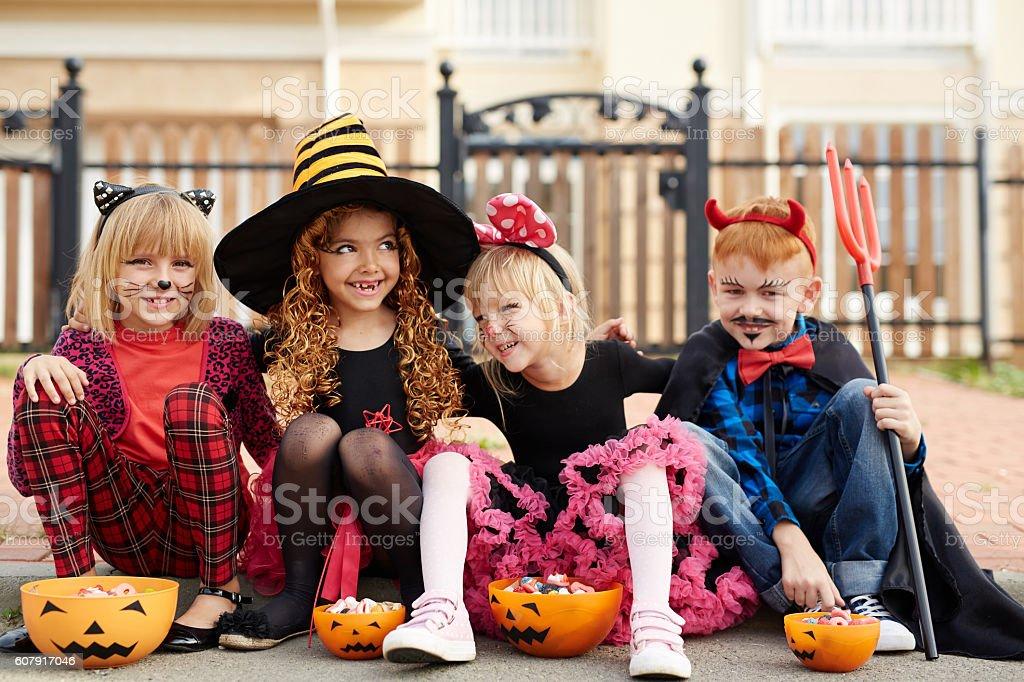 Eating Halloween treats stock photo