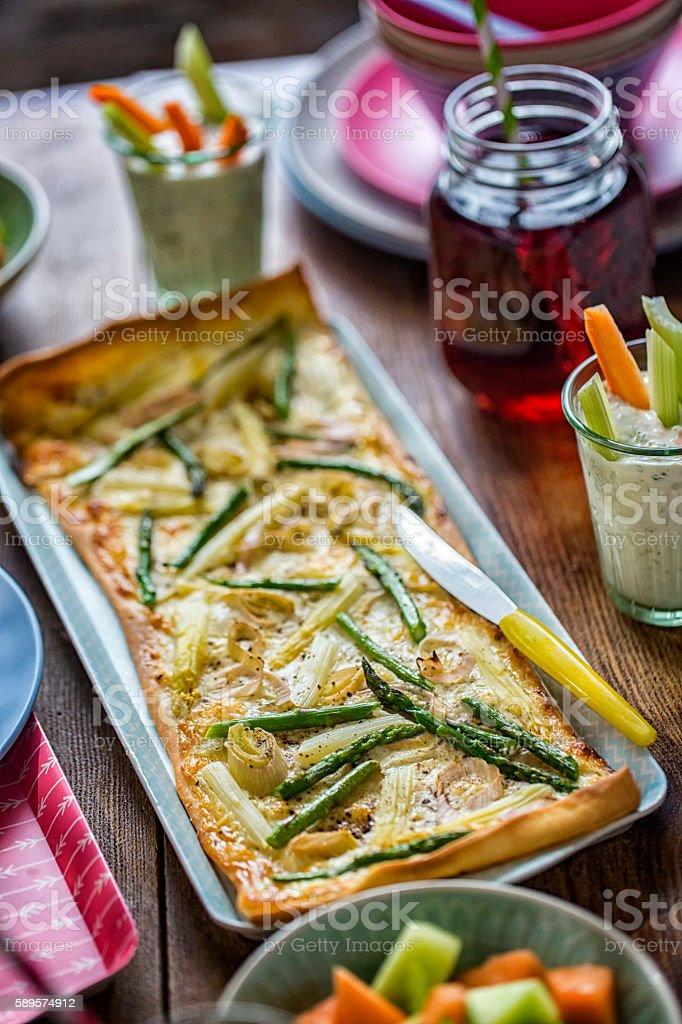 Eating Healthy Vegetarian Asparagus Tart stock photo