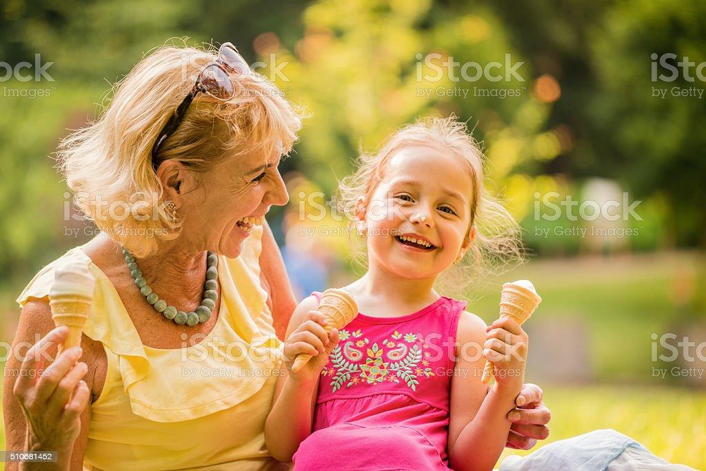 Eating icecream together stock photo