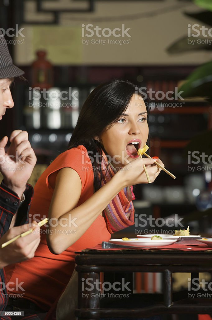 Eating in asian Restaurant royalty-free stock photo