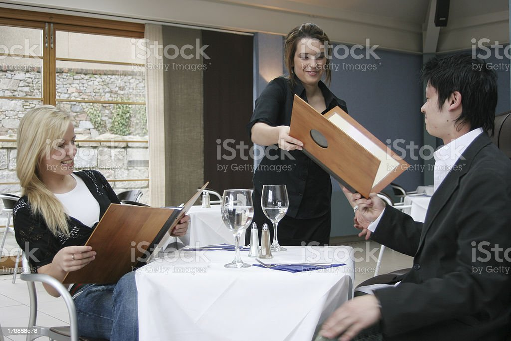 Eating in restaurant royalty-free stock photo