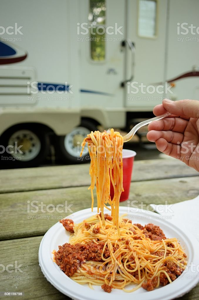 Eating in rv campsite stock photo
