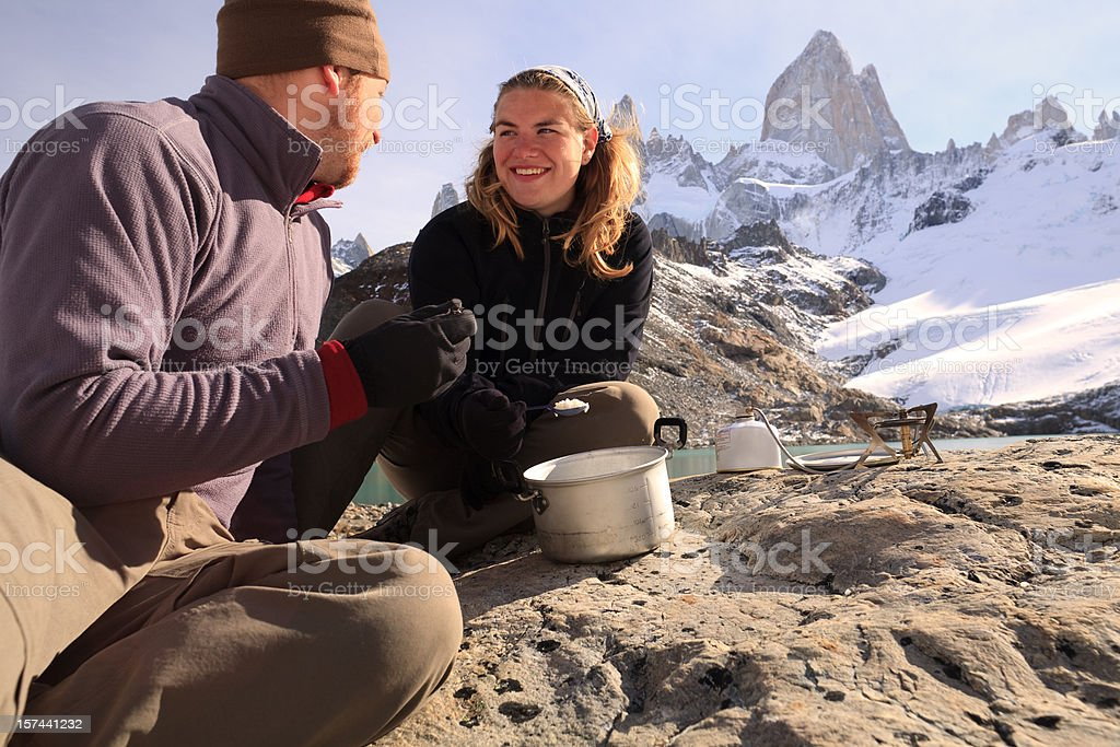 Eating in the Andes royalty-free stock photo