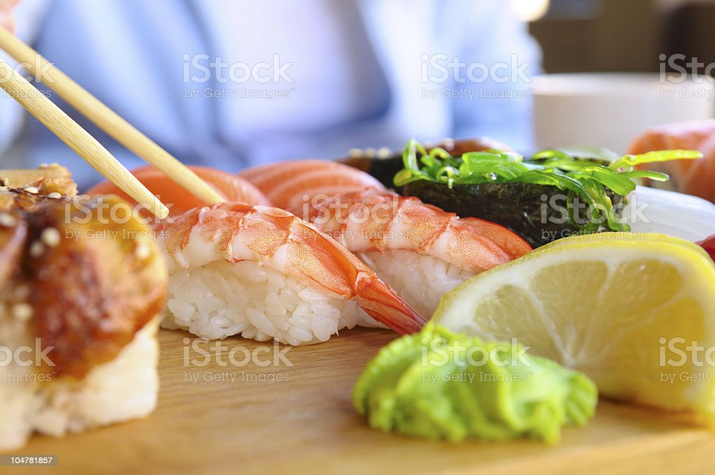 eating japanese food royalty-free stock photo