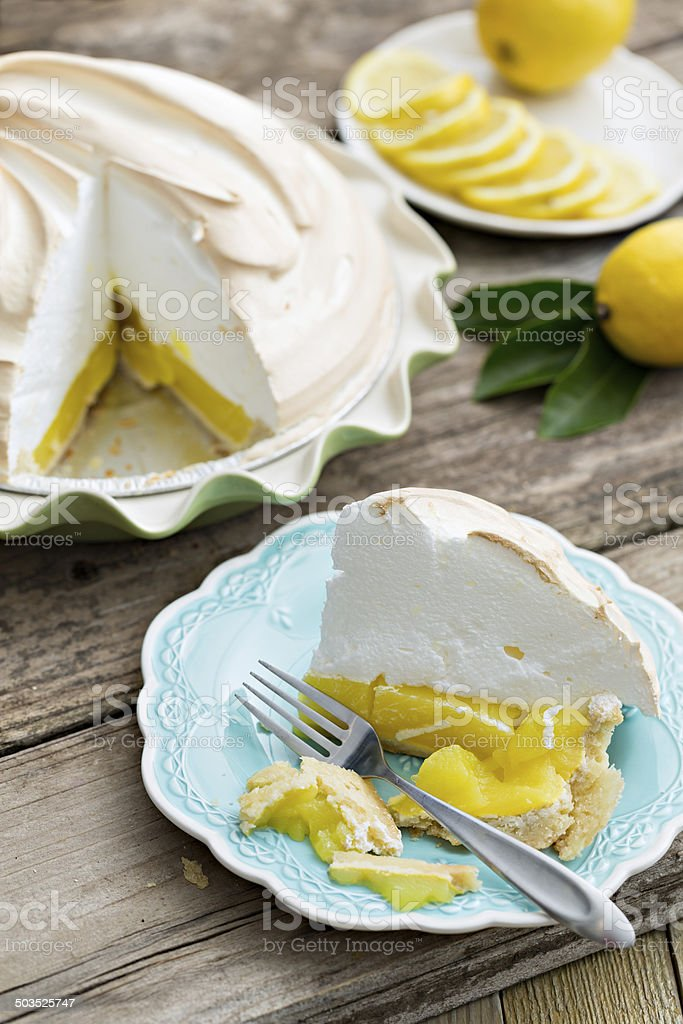 Eating Lemon Pie stock photo