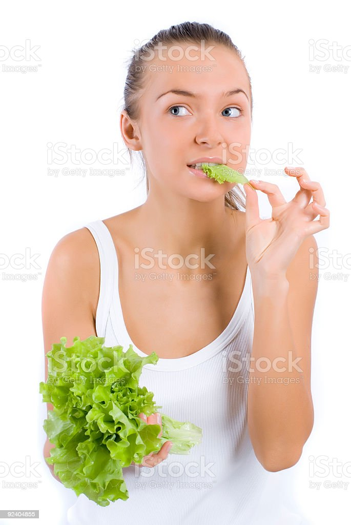 Eating lettuce royalty-free stock photo