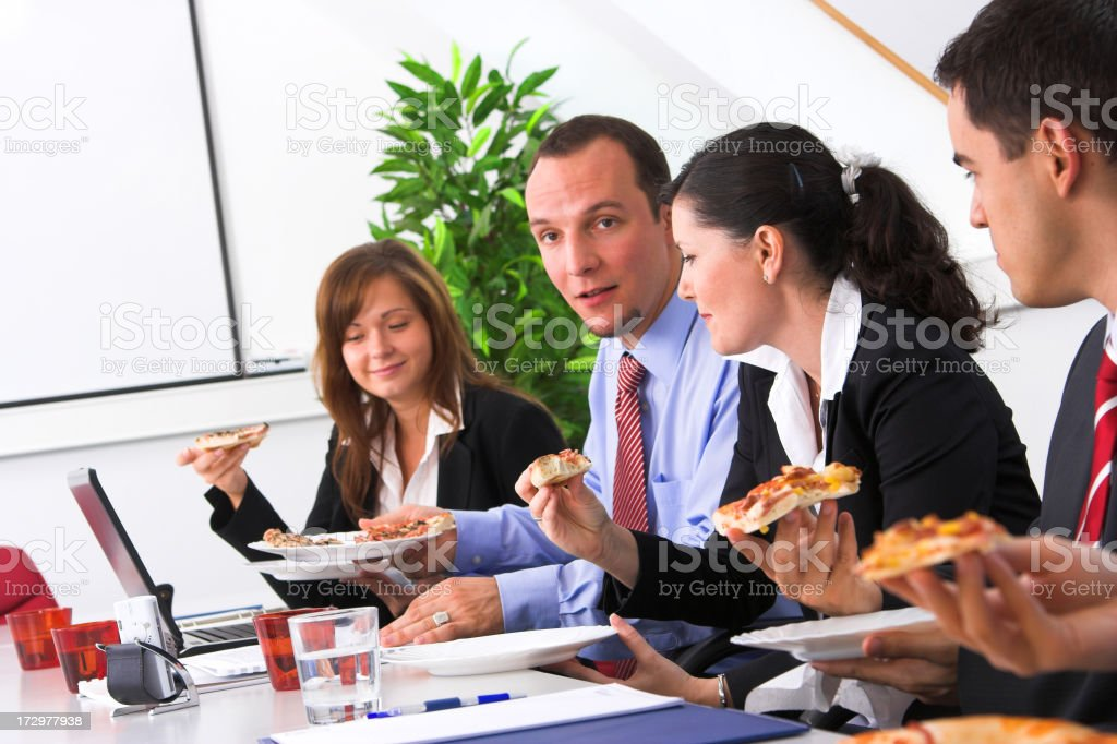 Eating on the meeting royalty-free stock photo