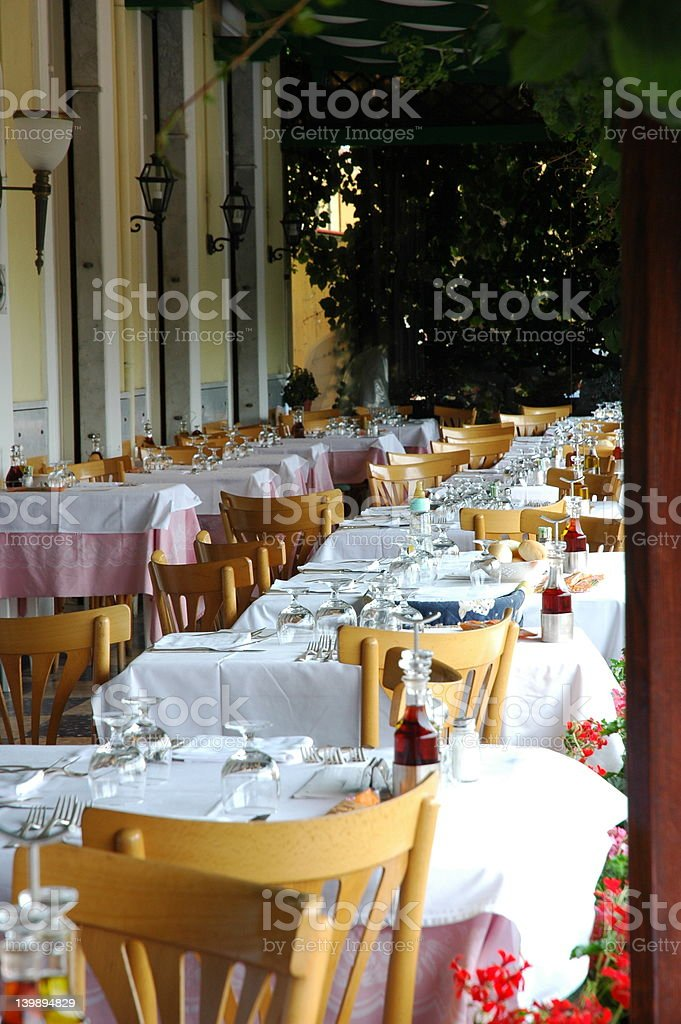 Eating outside stock photo