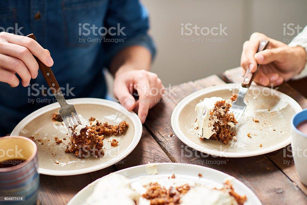 Eating pie stock photo