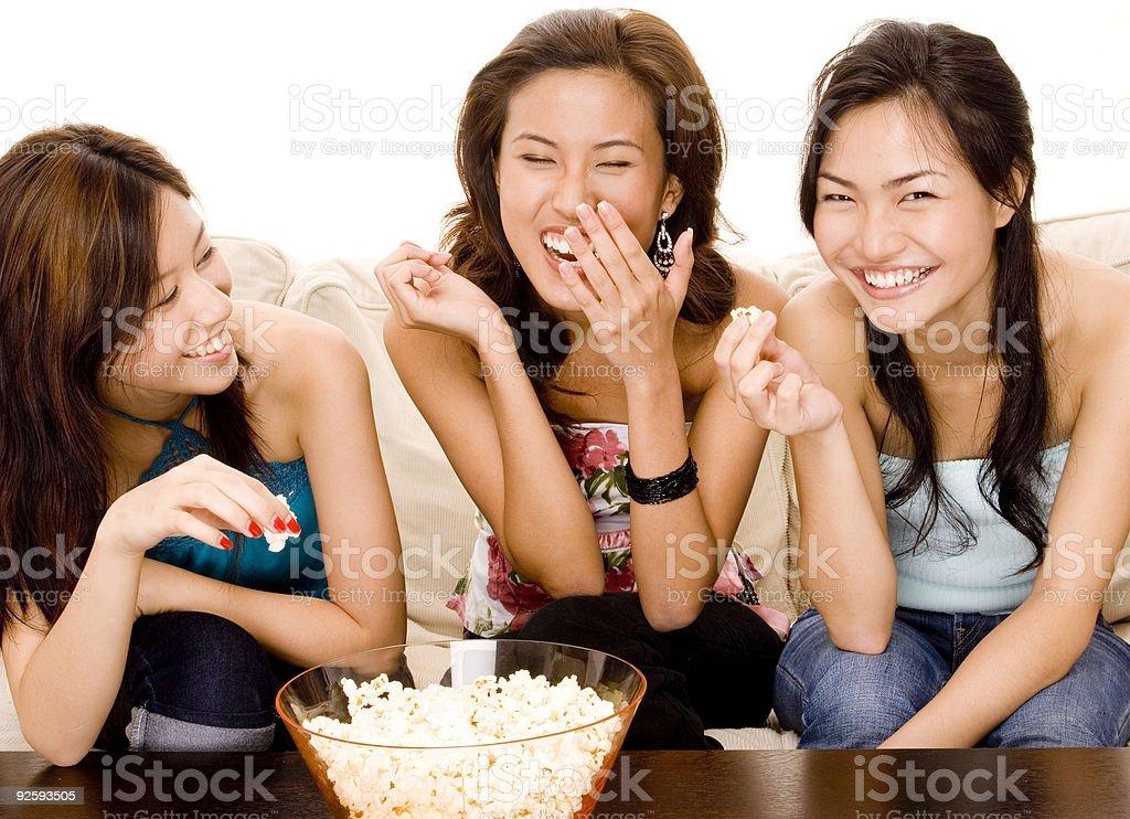 Eating Popcorn stock photo