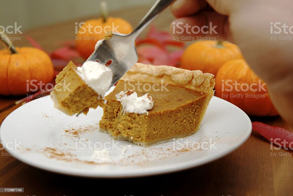 Eating Pumpkin Pie royalty-free stock photo