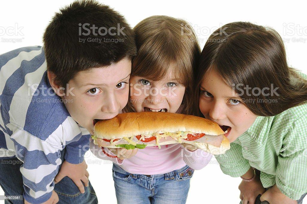 Eating sandwich stock photo