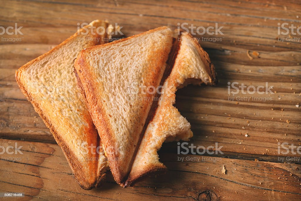 Eating sandwiches stock photo