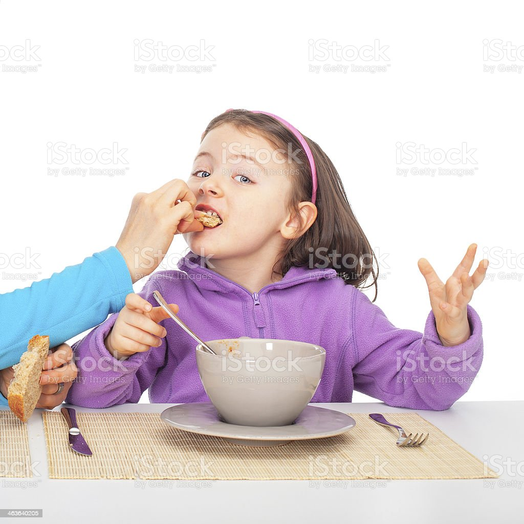 Eating soup stock photo