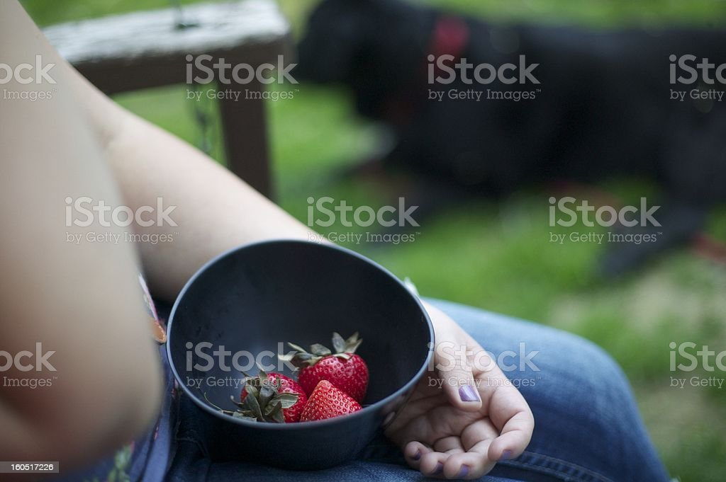 Eating Strawberries royalty-free stock photo