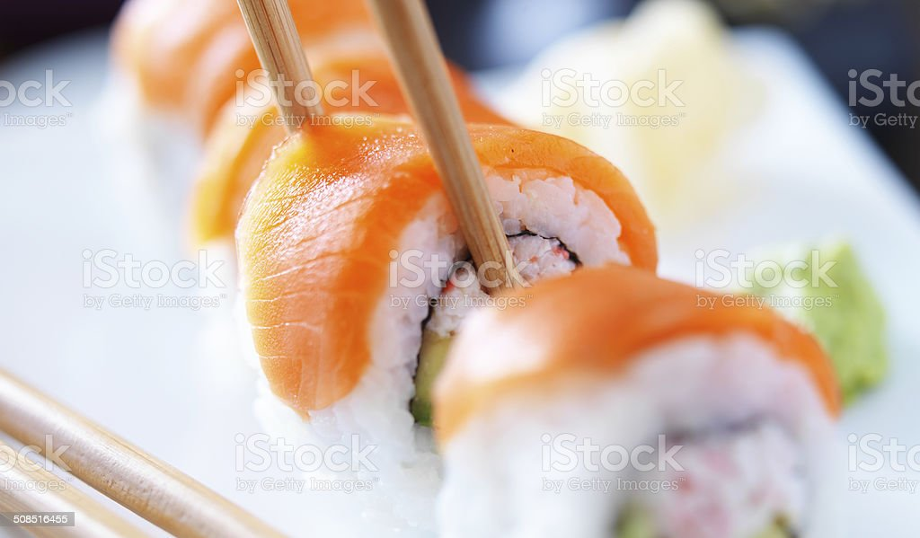 eating sushi with chopstricks panorama stock photo