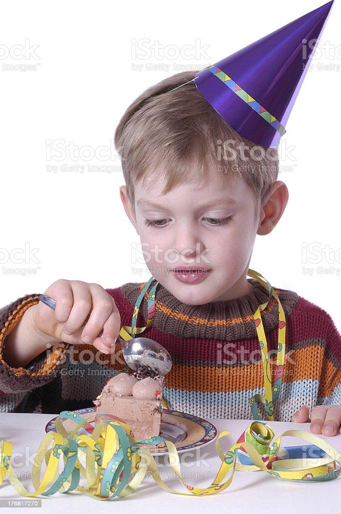 eating the birthday cake royalty-free stock photo