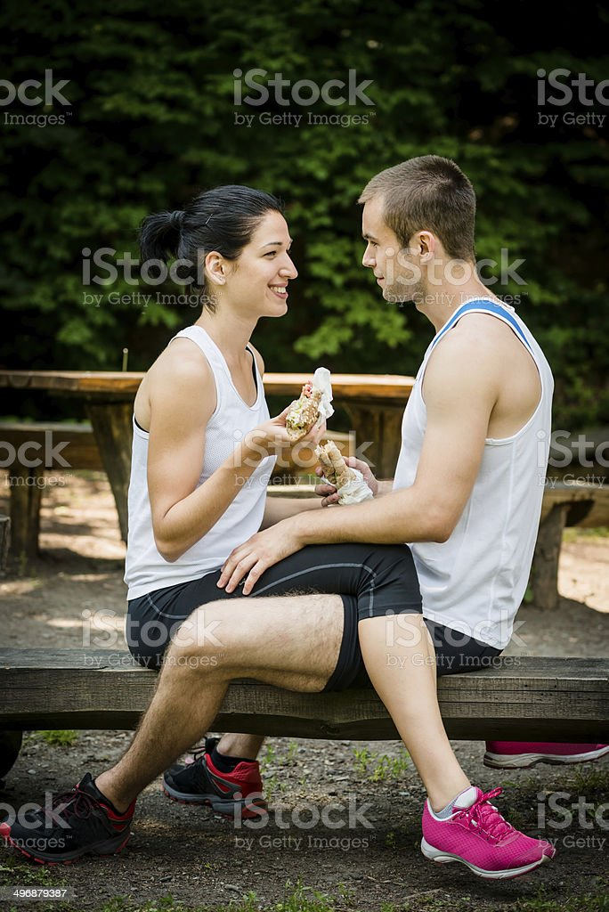 Eating together -  couple after jogging royalty-free stock photo