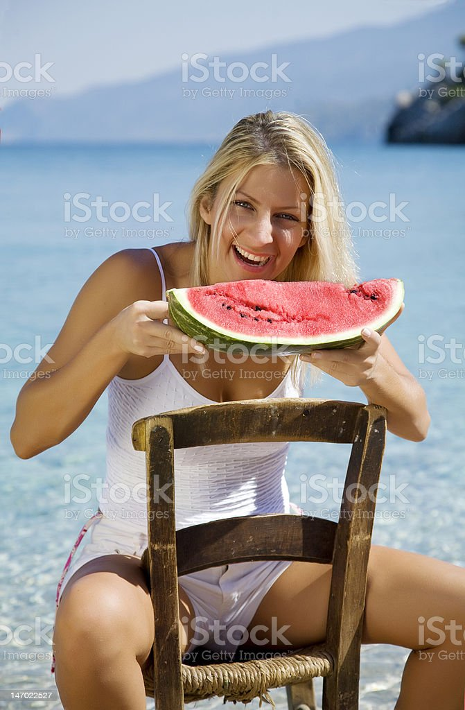 eating water melon royalty-free stock photo