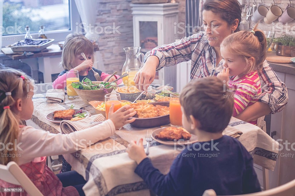 Eating Wiener Schnitzel with Potatoes and Green Salad stock photo