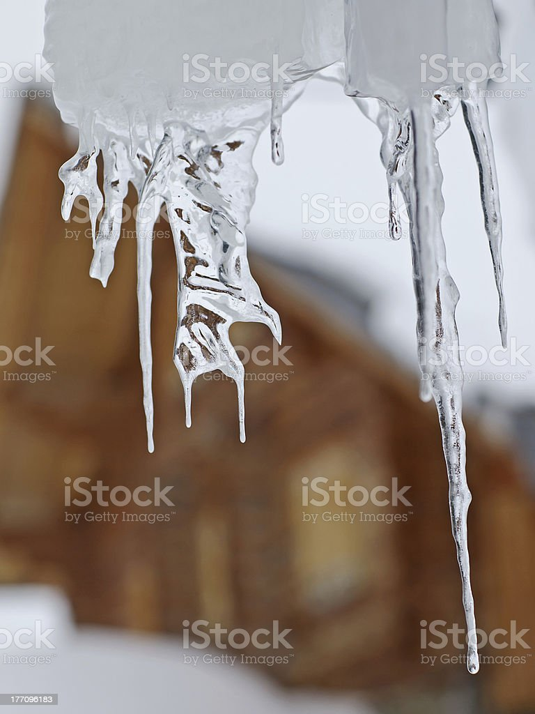 Eaves icicle stock photo