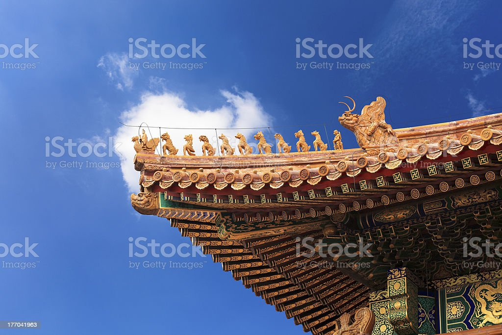 eaves in the forbidden city stock photo