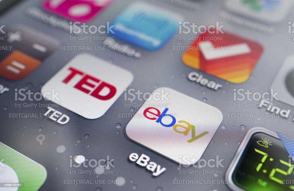 Ebay Application on iPhone royalty-free stock photo