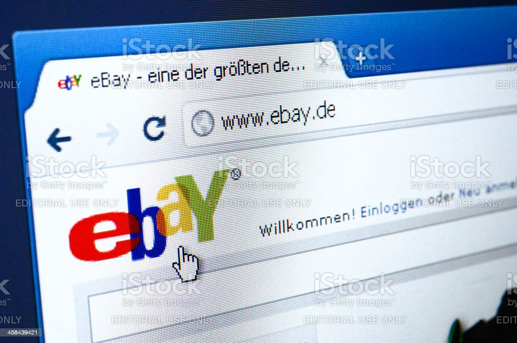 Ebay Germany webpage on the browser stock photo