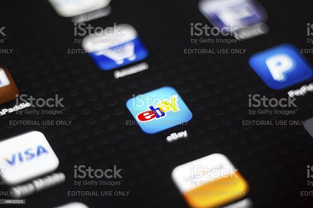 eBay icon on New iPad royalty-free stock photo