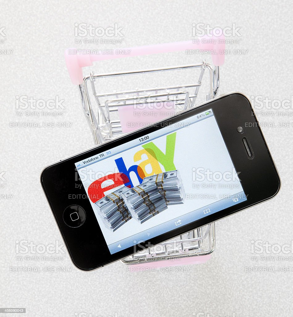 eBay logo on iPhone4 royalty-free stock photo