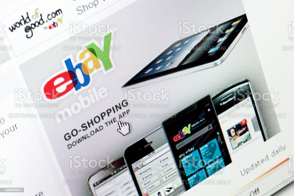eBay web site in Internet Explorer browser on LCD screen stock photo