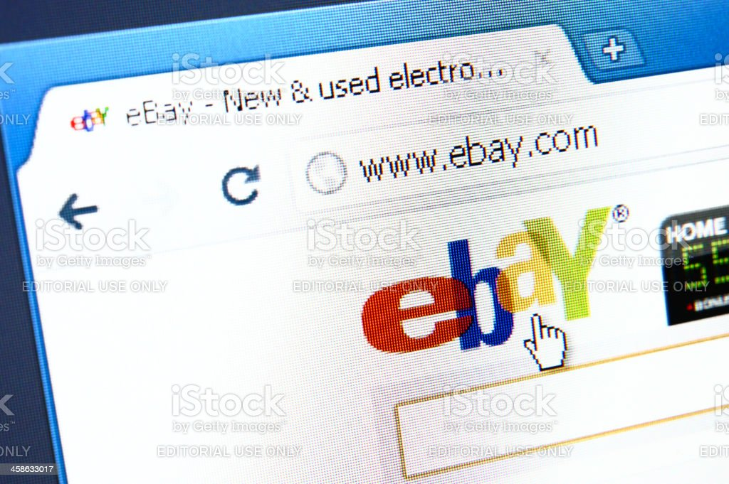 eBay webpage on the browser stock photo