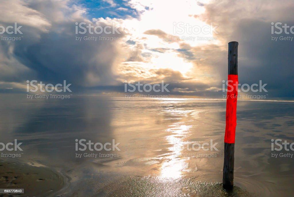 ebb at the North Sea stock photo