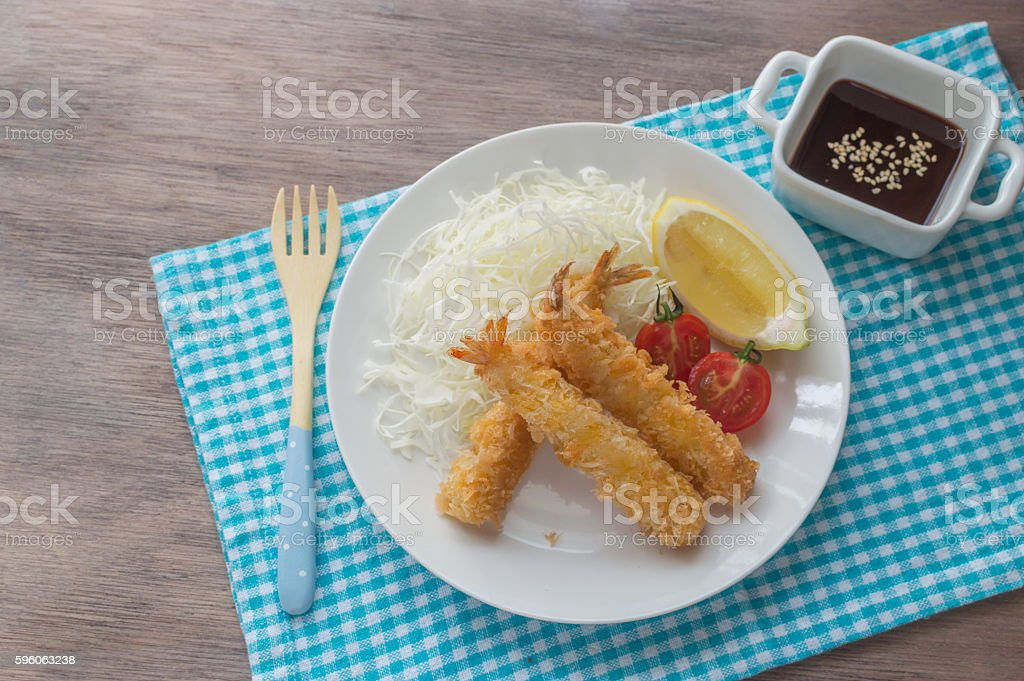 ebi furai (Japanese breaded and deep fried shrimp) stock photo