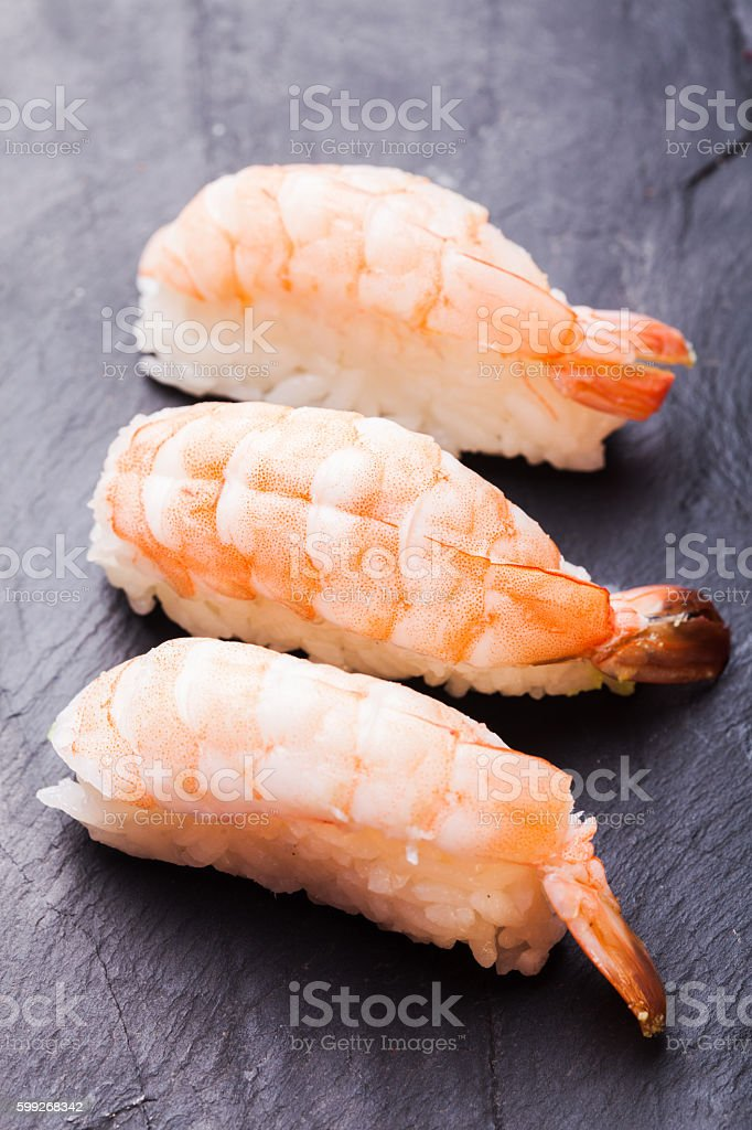 Ebi sushi with shrimp stock photo
