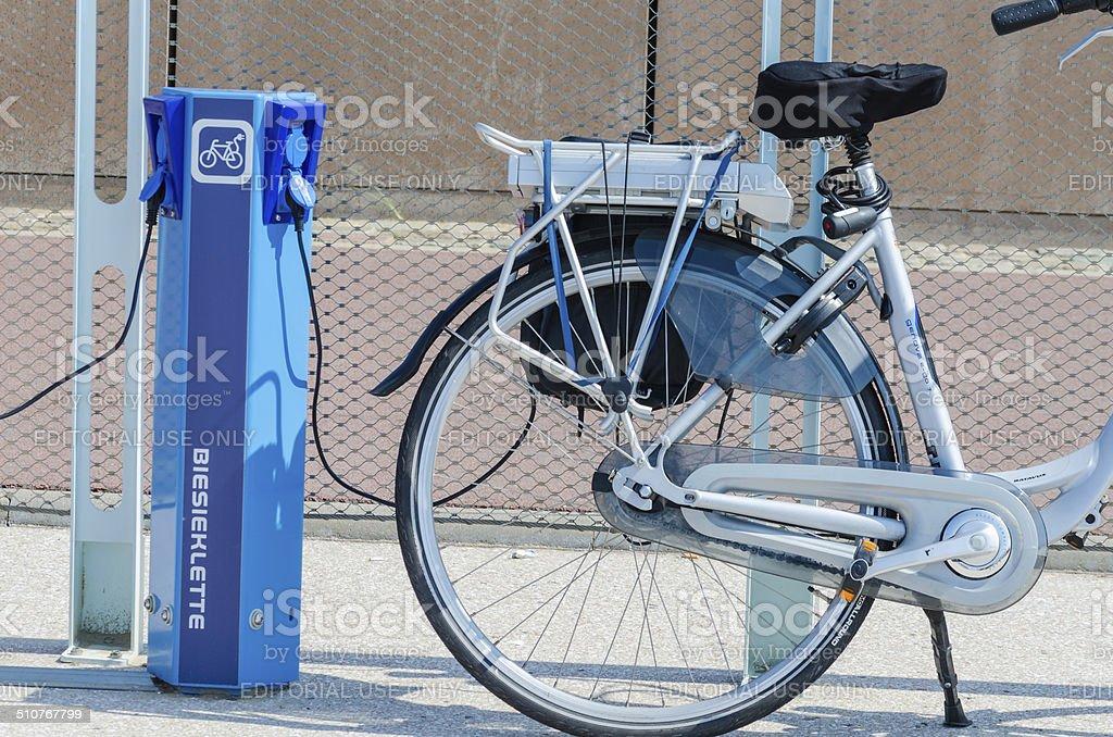 E-bike charging station stock photo