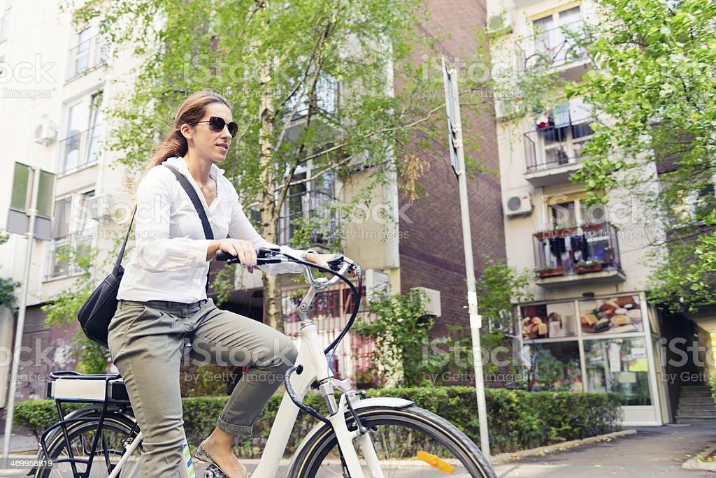 E-bike commuter stock photo